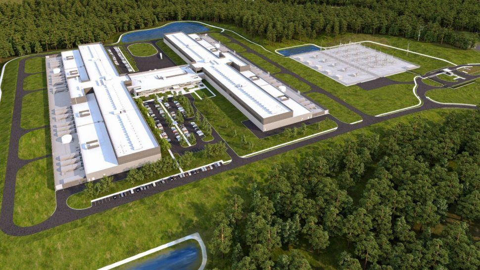 Aerial shot of Facebook's state-of-the-art facility in Newton County, Georgia.