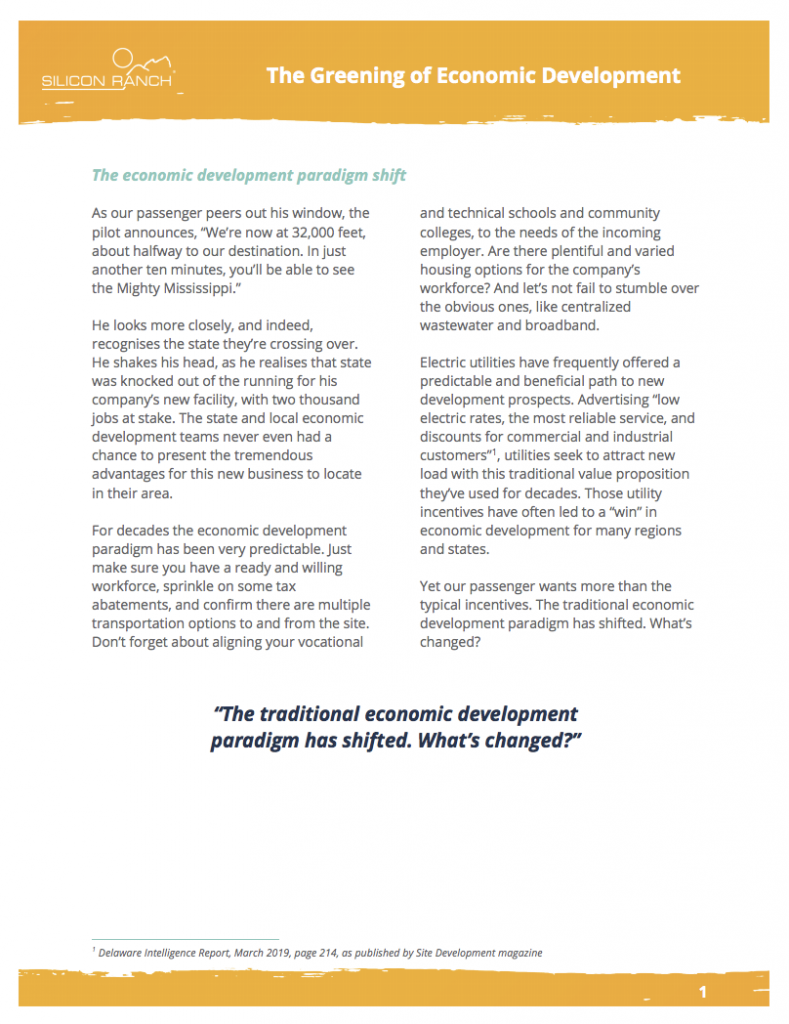 The Greening of Economic Development White Paper